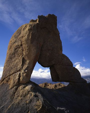 inyo national forest: A stone arch in the Alabama Hills located in California. Stock Photo