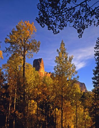 Chimney Peak located in the Uncompahgre National Forest of Colorado, photographed during the autumn season. Stock Photo - 686604