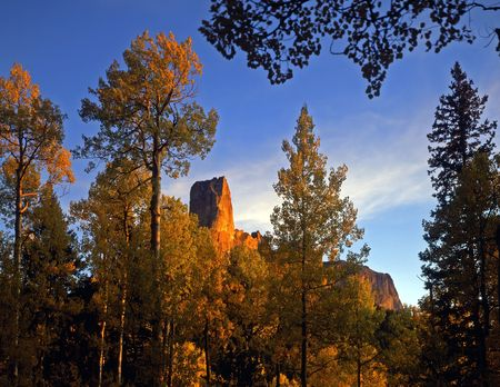 Chimney Peak in the Uncompahgre National Forest of Colorado, photographed during the autumn season. Stock Photo - 686602