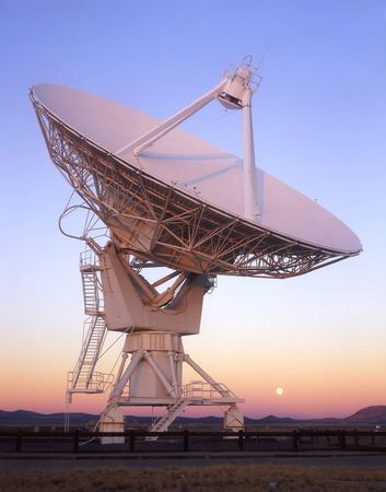 A satellite dish, part of the VLA (Very Large Array), in New Mexico.