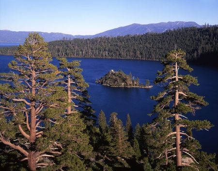 An island in Emerald Bay, part of Lake Tahoe in California.