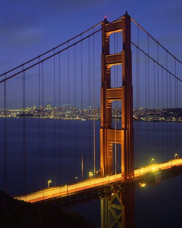 The Golden Gate Bridge and San Francisco photographed at night.