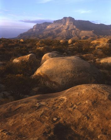 Boulders and the Guadalupe Mountains in west Texas. Stock Photo - 690079