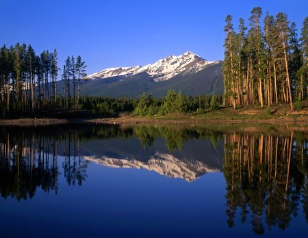 Mountain peaks and trees reflecting in Lake Dillon located in the Arapaho National Forest of Colorado.