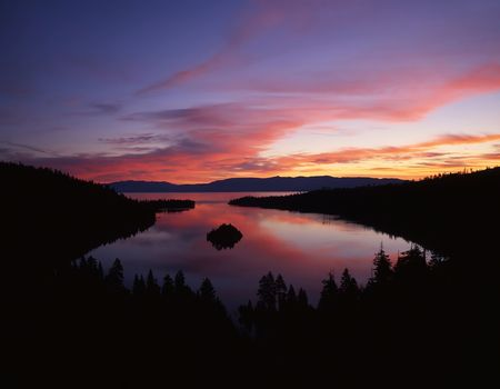 The Emerald Bay section of Lake Tahoe photographed from the California side. Stock Photo