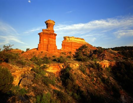 The Lighthouse Formation in Palo Duro Canyon State Park located in Texas. Stock Photo