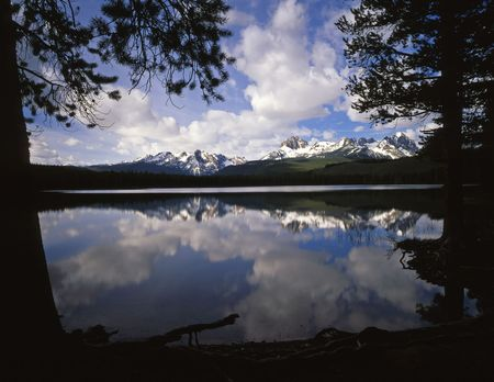 redfish: Little Redfish Lake and puffy clouds in the Sawtooth National Forest in Idaho.