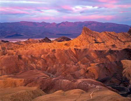 Manley Beacon photographed at sunrise from Zabrisiki Point in Death Valley National Park, California.