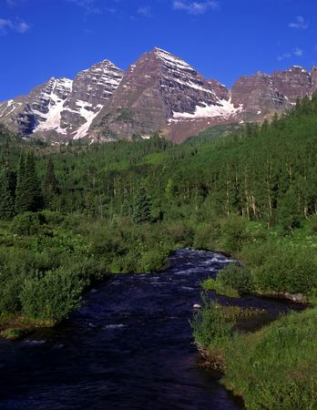 The twin peaks of the Maroon Bells & Maroon Creek in The White River National Forest in Colorado.