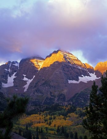 The Maroon Bells in the White River National Forest of Colorado.