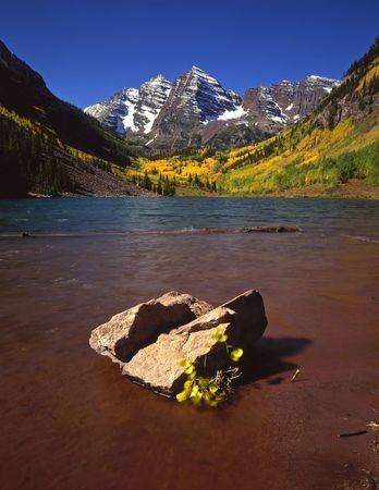The Maroon Bells and Maroon Lake in the White River National Forest of Colorado.