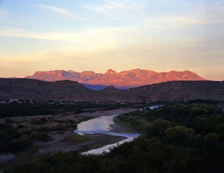 river bank: The Rio Grande River, the border between the United States and Mexico photographed from Big Bend National Park, Texas. Stock Photo