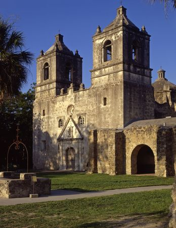 Mission Concepcion, part of the San Antonio Missions National Historic Park in San Antonio, Texas. Stock Photo