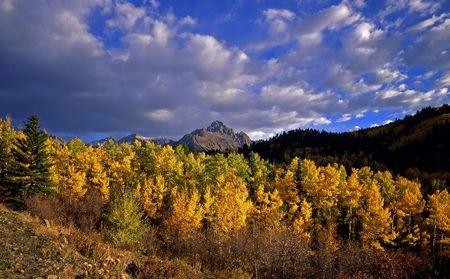 Mt. Sneffels in the Uncompahgre National Forest of Colorado, photographed during the autumn season.