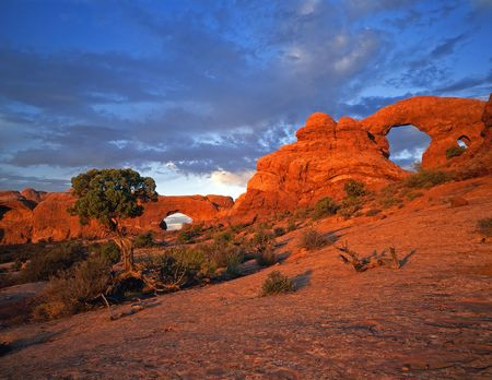 North Window & Turret Arches in Arches National Park, Utah. Stock Photo - 725353