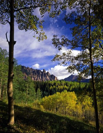 The Ophir Needles in the Uncompahgre National Forest of Colorado.