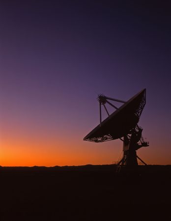 A radio telescope part of the VLA, Very Large Array, in New Mexico. Stock Photo
