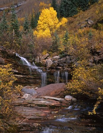 A small waterfall in the San Juan National Forest, Colorado. Stock Photo