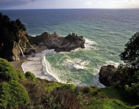 mcway: McWay Falls in Julia Pfeiffer Burns State Park, California. Stock Photo