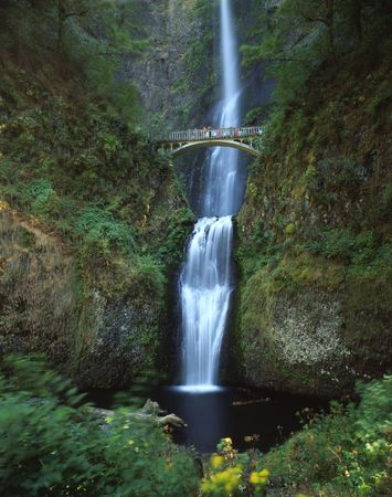 Multnomah Falls in the Columbia River Gorge National Senic Area, Oregon. Stock Photo