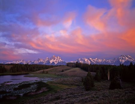 The Grand Teton Mountain Range, in grand Teton National Park, Wyoming, photographed at sunrise. Stock Photo