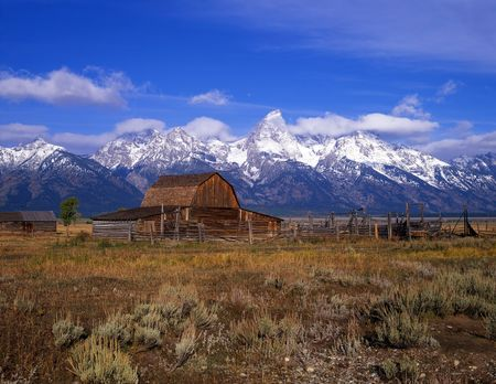 An old cattle ranch in Grand Teton National Park, Wyoming. photo