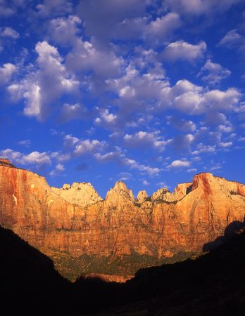 Towers of the Virgin in Zion National Park, Utah. Stock Photo