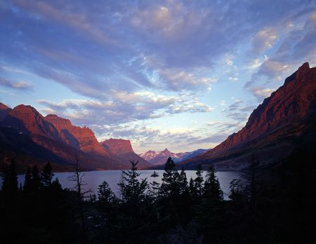 Wild Goose Island in St. Mary Lake located in Glacier National Park, Montana. Stock Photo