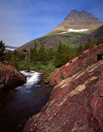 Red Rock Waterfall in Glacier National Park, Montana. Stock Photo - 742406