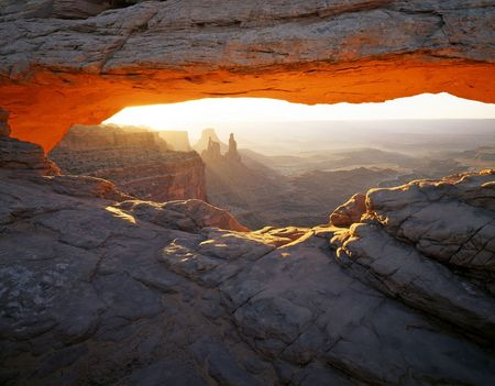 Mesa Arch & Washer Woman Arch in Canyonlands National Park, Utah.