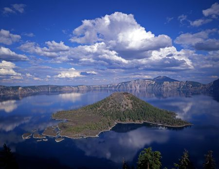 Wizard Island in Crater Lake National Park, Oregon. Stock Photo