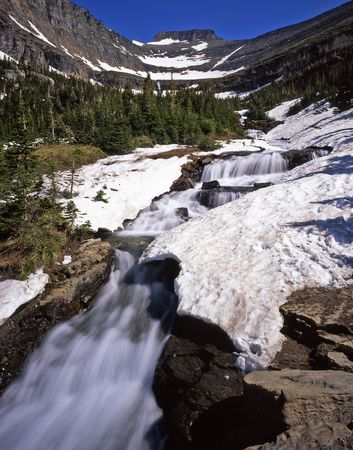 A small waterfall in Glacier National Park, Montana. photo