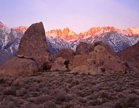 Mt. Whitney and the Alabama Hills in the Inyo National Forest of California. Stock Photo - 767081