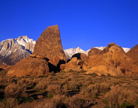 Mt. Whitney and the Alabama Hills in California. photo