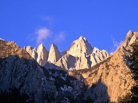 Mt. Whitney in the Inyo National Forest, California. Stock Photo