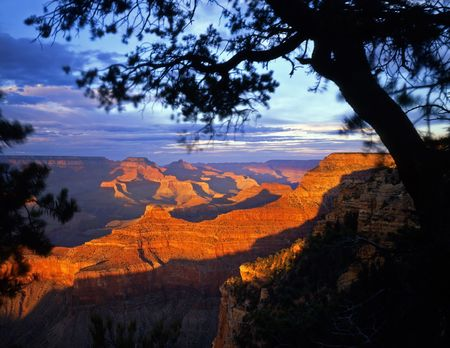 The Grand Canyon, in Grand Canyon National Park Arizona, photographed from the South Rim in the late afternoon. Stock Photo