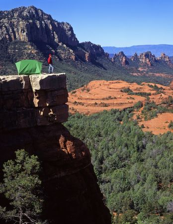 coconino national forest: A camper and tent in the Coconino National Forest near Sedona, Arizona.