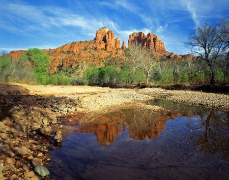 coconino national forest: Cathedral Rock and Oak Creek, in the Coconino National Forest, near Sedona, Arizona.