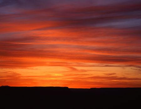 A sunset photographed in Grand Canyon National Park, Arizona.