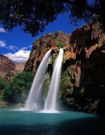 streams: Havasu Falls, on the Havasupai Indian Reservation, located in the Grand Canyon, Arizona.