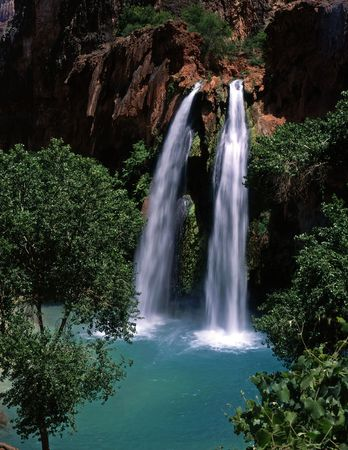 Havasu Falls, on the Havasupai Indian Reservation, located in the Grand Canyon, Arizona.