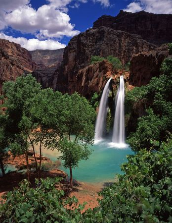 Havasu Falls, on the Havasupai Indian Reservation, located in the Grand Canyon, Arizona. Stock Photo - 813392