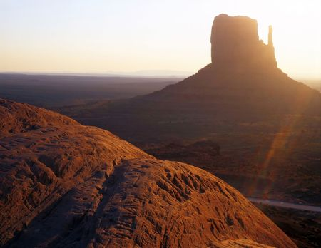 The West Mitten Butte formation, photographed at sunrise, located in Monument Valley Navajo Tribal Park, Arizona. Stock Photo - 813397