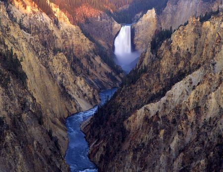 The Lower Falls on the Yellowstone River in Yellowstone National Park, Wyoming.