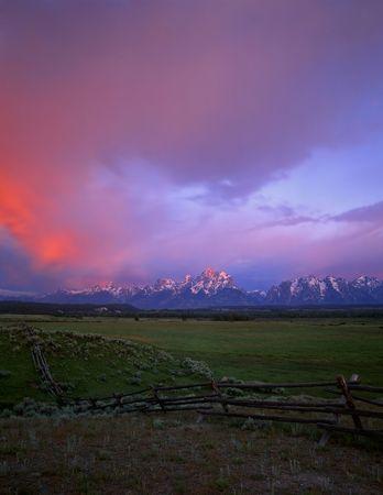 teton: Un buck e ferroviario recinto con il Grand Teton Mountain Range, fotografato a sunrise. Location, Grand Teton National Park, Wyoming.