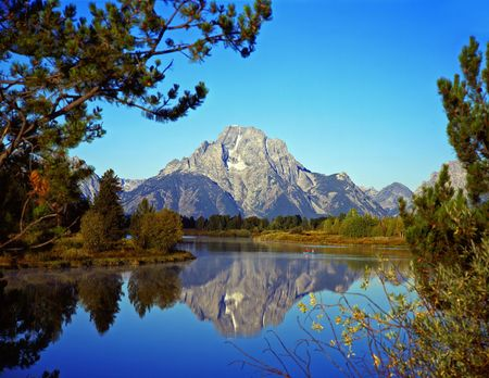 The Oxbow Bend of the Snake River and Mt. Moran in Grand Teton National Park, Wyoming. photo