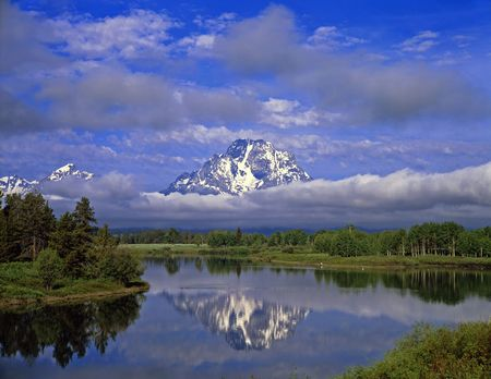 The Oxbow Bend of the Snake River and Mt. Moran in Grand Teton National Park, Wyoming.