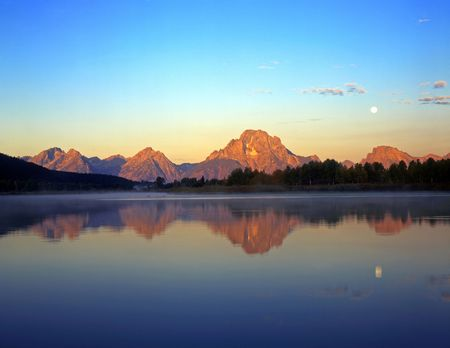 The Snake River and Mt. Moran, at sunrise, in Grand Teton National Park, Wyoming. Stock Photo