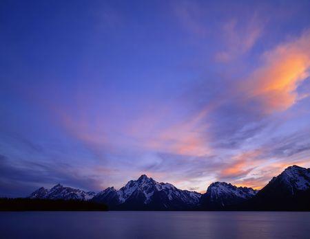 Jackson Lake and the Teton Mountain Range in Grand Teton National Park, Wyoming.