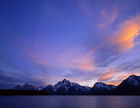Jackson Lake and the Teton Mountain Range in Grand Teton National Park, Wyoming.